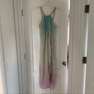 Bill Blass Silk Blue Purple Beaded Neck Dress